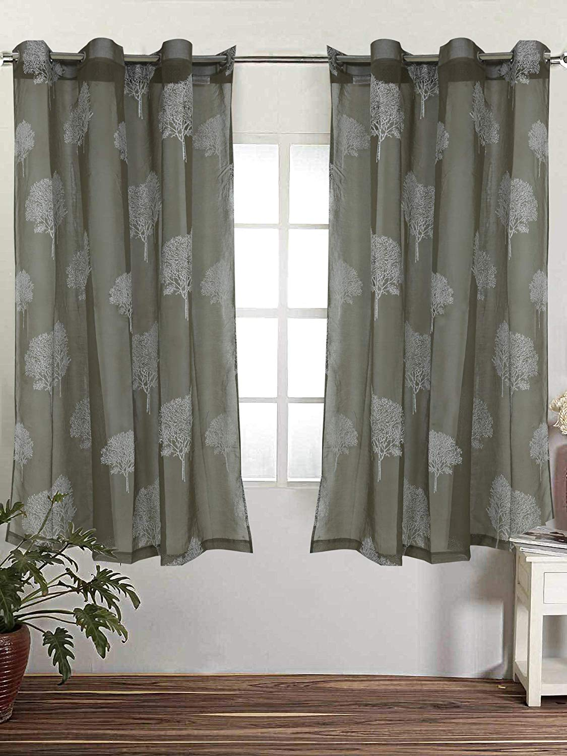 Linenwalas Elegant Rubber Tree Print Design Non Blackout Sheer Door Curtain With Eyelet Rings Set Of 2 Olive Green 4 5ft X7ft Aarav Mart